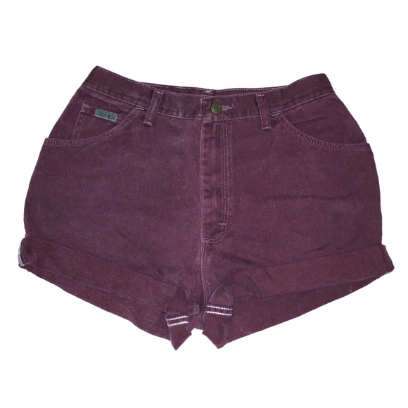 Wrangler Pants - Vintage Burgundy High Waisted Cuffed Shorts 28